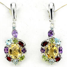 GRACEFULLY NATURAL GEM CITRINE,AMETHYST,GARNET,PERIDOT,TOPAZ 925 SILVER EARRINGS