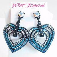Betsey Johnson Holiday Party Black Blue Pave Heart Statement Drop Earrings $55