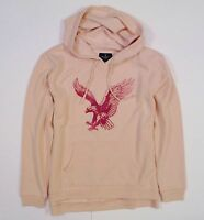 Womens American Eagle Pink Peach Fleece Popover Hoodie Sweatshirt L Large
