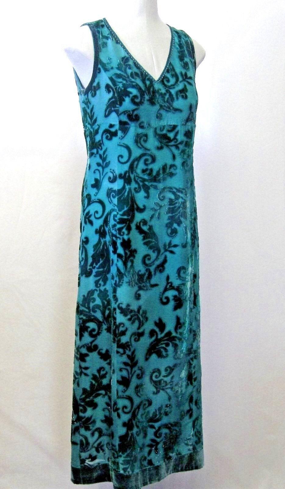 Garnet Hill Dress Size 4 Green Burnout Sleeveless Long Lined Bead Trim H
