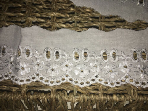 "5cm//2/"" White Cotton Eyelet//Ribbon Slot Broderie Anglaise Flat Lace Trim x 5 Metr"