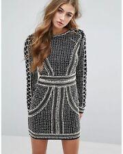 Missguided Women's Peace + Love Pearl Embellished Mini Dress - Black/white uk 12