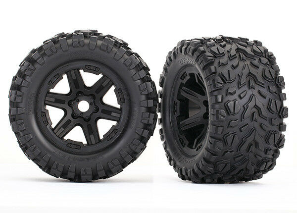 Traxxas 8672 Tires & wheels glued Talon EXT tires Black wheels 2 17mm TSM rated