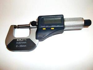 BORLETTI-Micrometro-a-0-001-mm-electronico-digital-al-aire-libre-Cm-0-25-mm