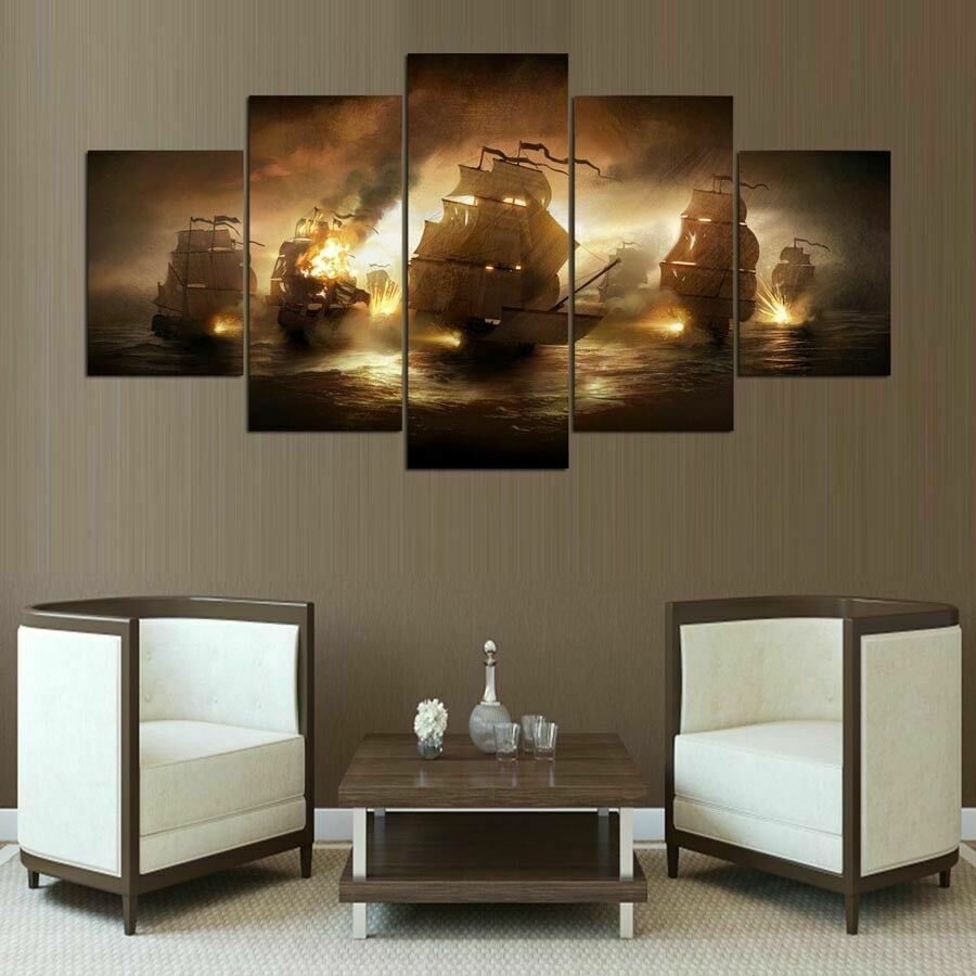 Old Warships Battle Sailing Five Piece Framed Canvas Multi Panel Home Decor