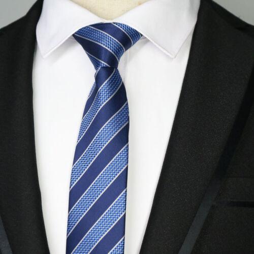 Luxury Blue Striped 6CM Men skinny tie Man Jacquard Wedding Party Silk ties hot