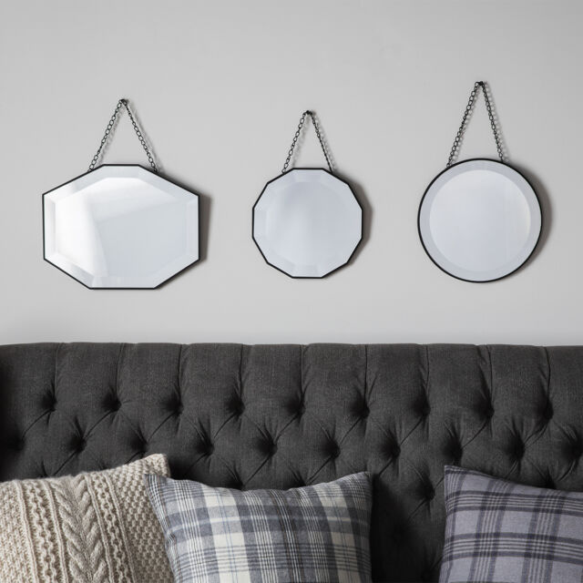 Haines Set Of 3 Scatter Chain Hung Classic Geometric Frame Trio of Wall Mirrors