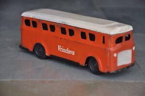 Vintage Vrindava Orange & White Litho Bus Tin Toy , Collectible
