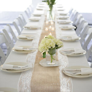 Image Is Loading 10pcs Natural Burlap Hessian Lace Table Runner Wedding