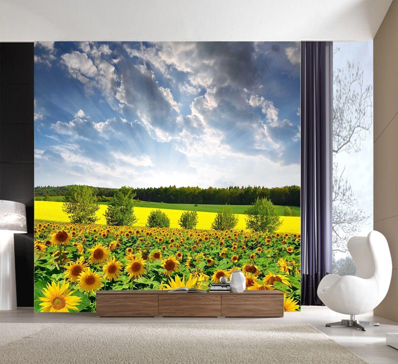 3D Sunflower Golden 7 Wallpaper Mural Wall Print Wall Wallpaper Murals US Lemon