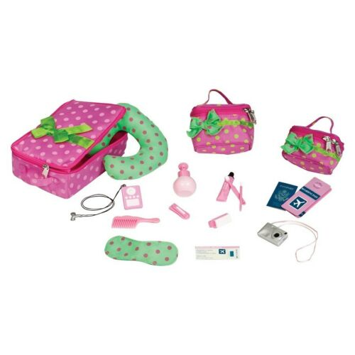"Doll Travel Luggage Accessories Set 18/"" Fits American Girl Passport Ticket New"