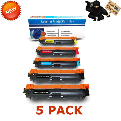 Set of 5 TN-221 TN221 BCMY High Yield Toner for Brother HL-3140CW HL-3170CDW