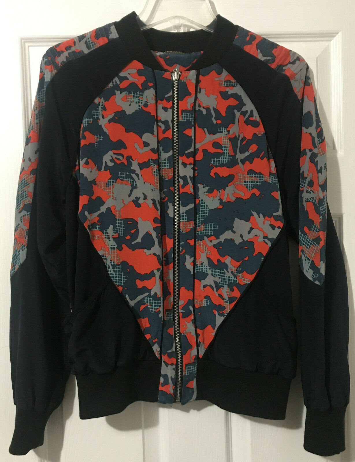 Rebecca Minkoff Red Camo Print Silk Bomber Jacket… - image 1