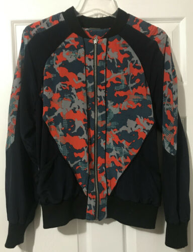 Rebecca Minkoff Red Camo Print Silk Bomber Jacket
