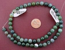 8mm Round Natural Moss Agate Bead Gem Stone Gemstone 15 Inch Strand mab3