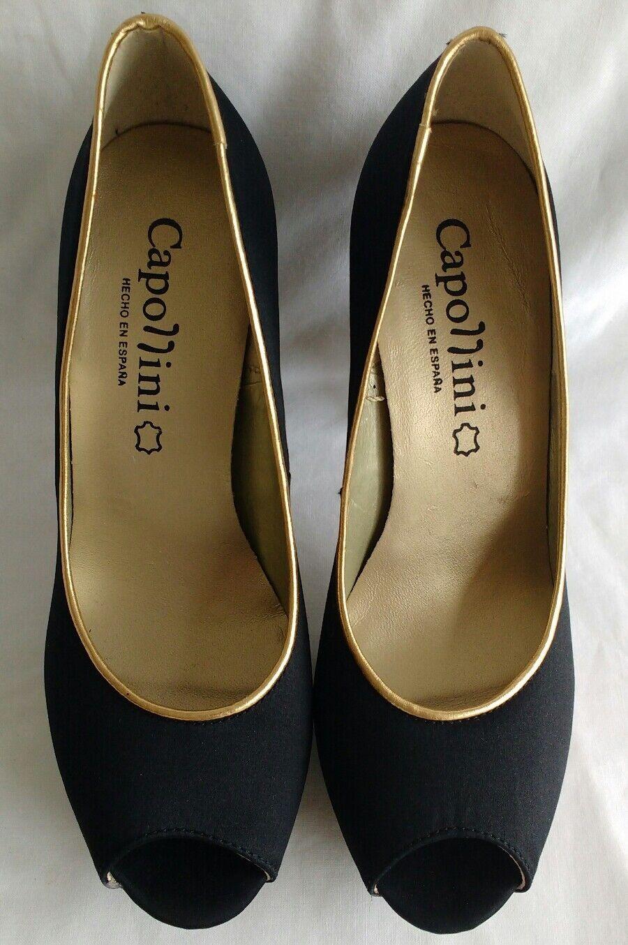 Womens Ladies Capollini Black Satin Gold Peep Toe Court Shoes Size 3/36 New