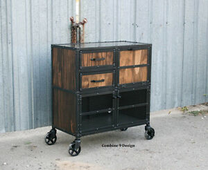 Image Is Loading Vintage Industrial Salon Workstation Cart Rustic Modern  Reclaimed