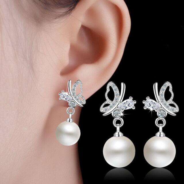 18K Gold Plated Pearl CZ Butterfly Bead Drop Dangle Earrings for Women Jewelry