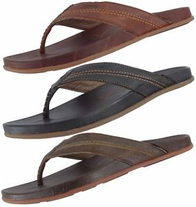 b7b4737b270 OLUKAI SAMPLE 10265 MEN S MOHALU LEATHER FLIP FLOP THONG SANDALS US ...