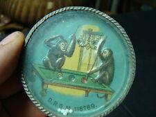 mechanical dexterity puzzle---vintage GERMAN MONKEY BILLARD PLAYERS ON TABLE