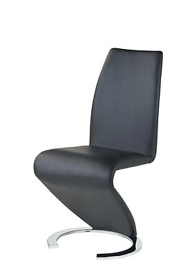 Luciano MODERN DESIGNER LEATHER CHROME Z STYLE CONTEMPORARY DINING ROOM CHAIR