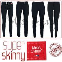 Girls Black Grey School Trousers Ladies Miss Chief Super Skinny Sizes 4-16