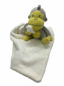 Baby Bum Monkey Duke Yellow Lovie Lovey Security Blanket Plush Soft White