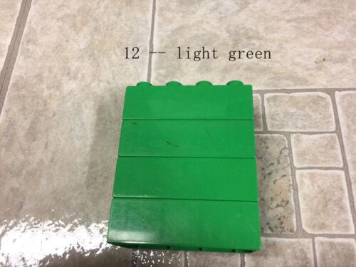 4 lego duplo 2X4 bricks block azure lime pink gray black white brown tan orange