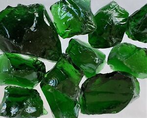 """2 Pounds Large 1/"""" Green Crushed Glass for Tumbling 3.5/"""""""