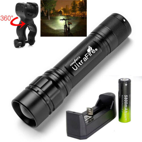 Ultrafire 20000LM ZOOM 3Mode  T6 LED Camp Flashlight Torch+18650+Charger+Case
