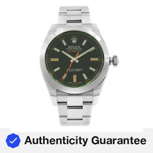 Rolex Milgauss Black Index Dial Orange Hand Automatic Steel Mens Watch 116400GV