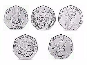 Beatrix-Potter-50p-UNCIRCULATED-Jemima-Puddle-Tiggy-Winkle-Squirrel-Peter-Rabbit