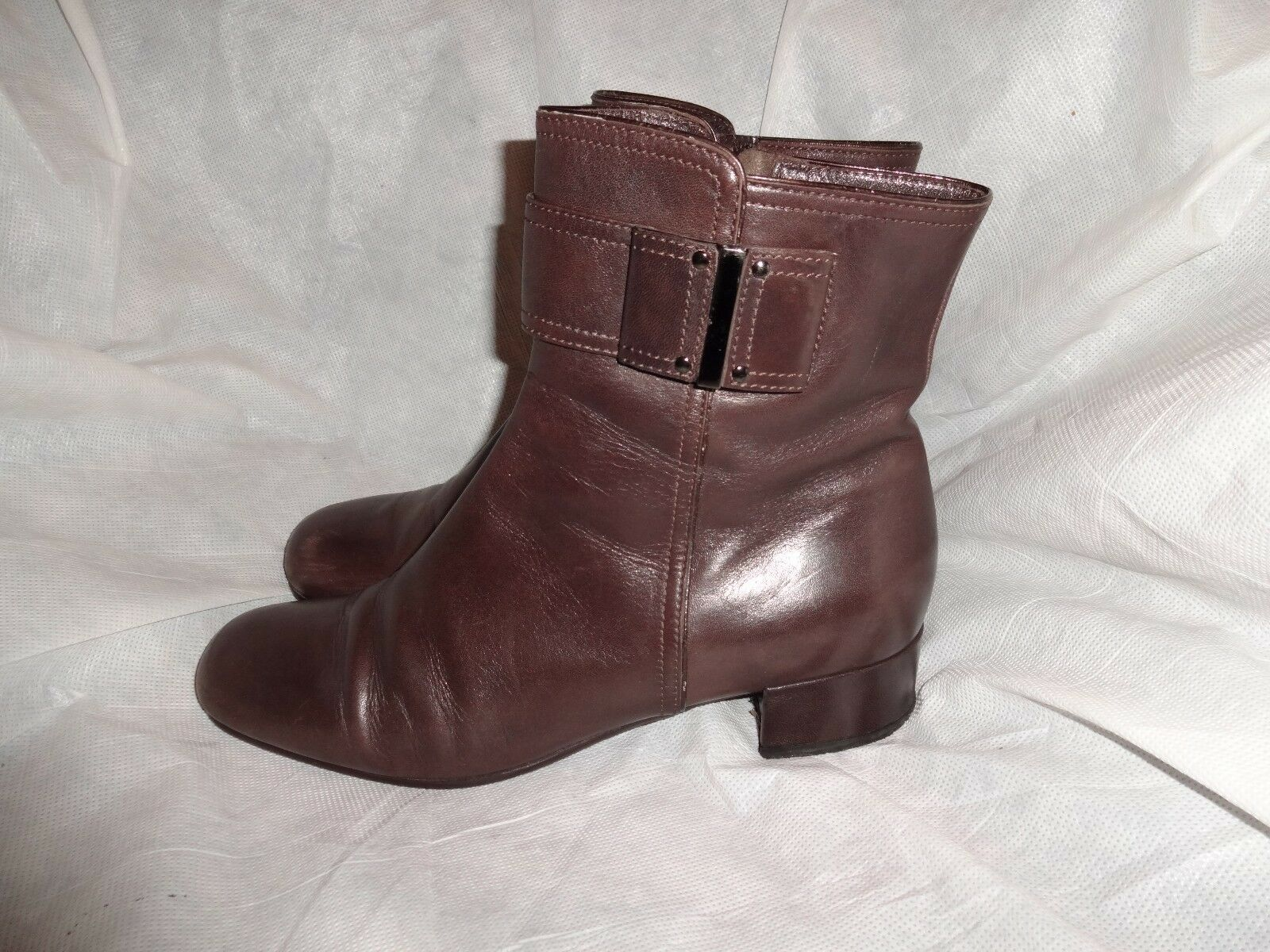 KOCAL WOMEN BROWN LEATHER ZIP ON ANKLE BOOT SIZE VGC