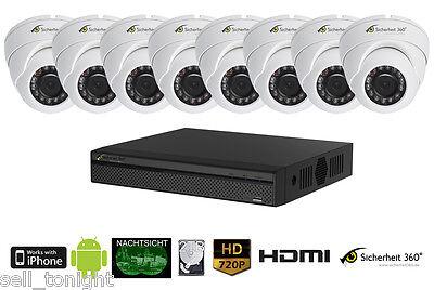 8 Kanal Videoüberwachung in 720p HD mit Nachtsicht und Bewegungserkennung + App!