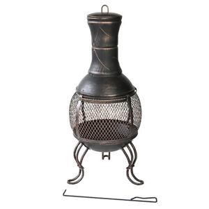 Terrassenofen-Gartenofen-Metall-Kamin-Feuerstelle-89cm-Vintage-Feuerkorb-Outdoor
