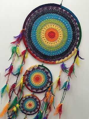 HUGE CHAKRA COLOUR CROCHET DREAM CATCHER 42 CM MAIN WEB BOHO 157 CM TOTAL LENGTH