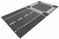 Lego City Base Street Road Straight And Crossroad Platforms, Gray   7280