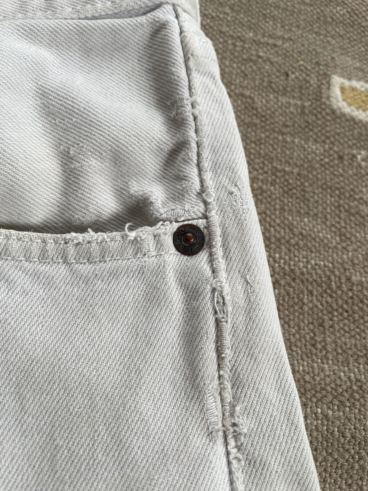 Vintage Levi's 501 Custom Distressed White Denim … - image 6