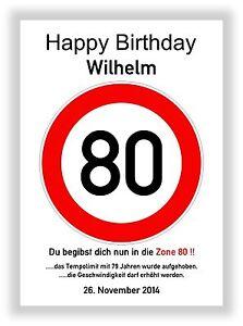 Verkehrszeichen-Bild-80-Geburtstag-Deko-Geschenk-persoenliches-Verkehrsschild-NEU