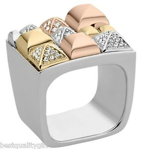 MICHAEL-KORS-TRI-TONE-SILVER-ROSE-GOLD-PYRAMID-PAVE-CRYSTAL-SQUARE-RING-SIZE-7