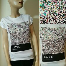 Public Envy Love Makes You Sparkle Festival Glitter Sequin T-Shirt Top Size 8 10