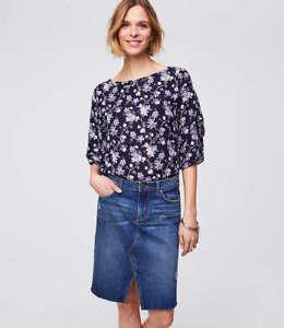 443fafabab NWT LOFT Women's Slit Denim Skirt - Bright Medium Stone Wash - Size ...
