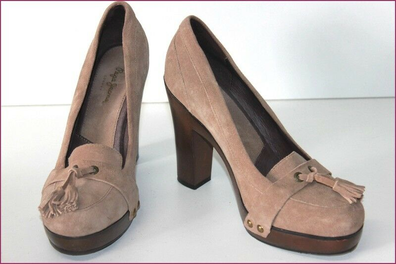 PEPE JEANS Court shoes Suede Beige Hauts Heels T T T 39 VERY GOOD CONDITION a5333e