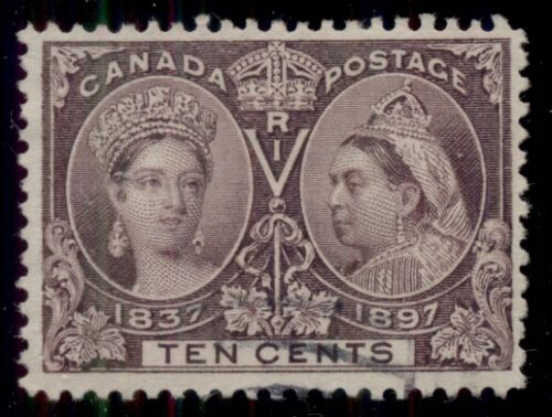 CANADA #57 10 brown violet, used wlight cancel, VFXF, Scott $120.00