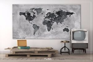 Large Canvas Map Of The World.World Map Rustic Watercolor Push Pin Large Canvas Antiques Map