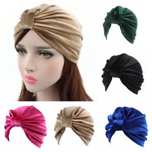 donna-stile-indiano-velluto-Turbante-cappello-BANDANA-Chemio-Fascia-per-capelli