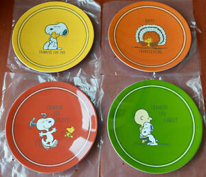 New 4pc Pottery Barn Kids Peanuts Thanksgiving Melamine