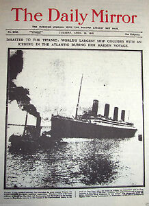 1912-TITANIC-Newspaper-Daily-Mirror-Antique-Photos-Man-Old-London-New-York-C-U-K