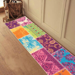 Custom-Size-Stair-Hallway-Runner-Rug-Rubber-Back-Non-Skid-Multicolor-Patchwork