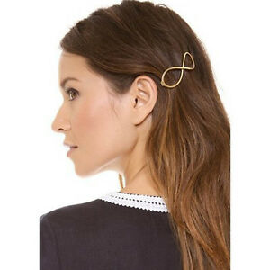 Fashion-Femmes-positive-Infinity-or-Barrette-epingle-a-cheveux-pince-a-cheveux-serre-tete-VO